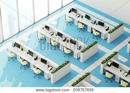 Blue Floor Office, Top View