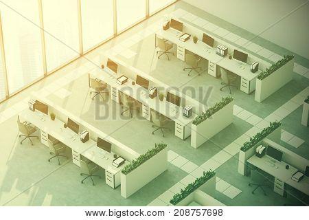 Gray Floor Office, Top View, Toned