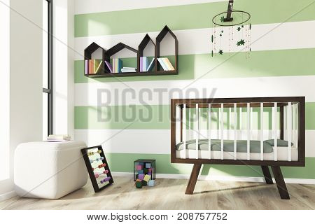 Green And White Nursery, Crib, Side