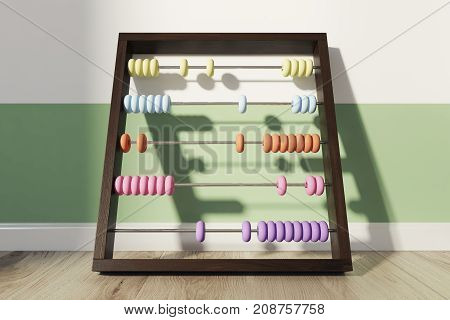 Childrens abacus with colorful beads standing on the wooden floor of a green and white striped nursery. 3d rendering