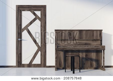 White Living Room Interior, Piano