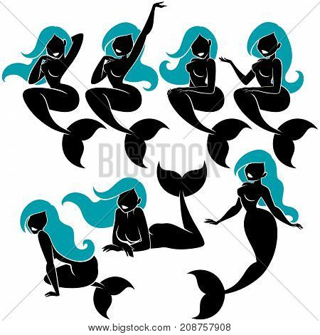 Mermaid silhouette in 7 different poses, over white background.