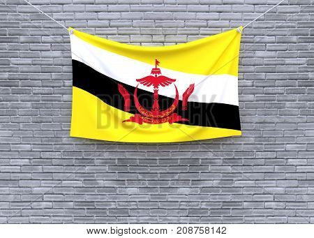 Brunei Darussalam flag on brick wall. 3D illustration