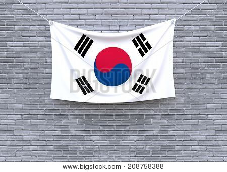 South Korea flag on brick wall. 3D illustration