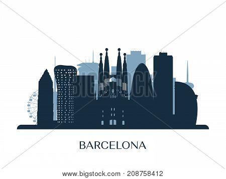 Barcelona skyline monochrome silhouette. Design Vector illustration.