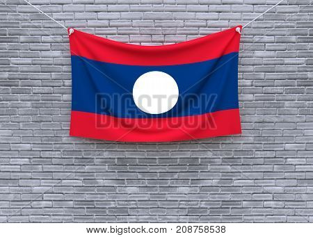 Laos flag on brick wall. 3D illustration