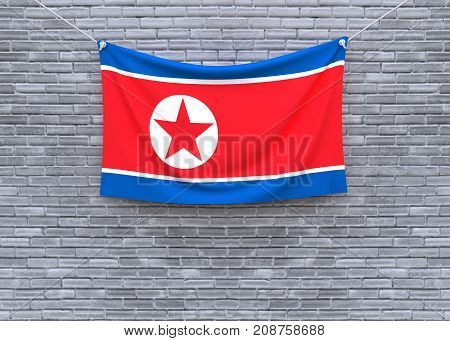 North Korea flag on brick wall. 3D illustration