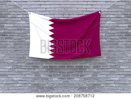 Qatar flag on brick wall. 3D illustration