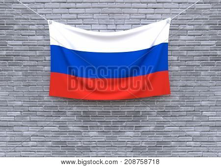 Russia flag on brick wall. 3D illustration