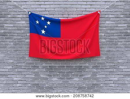 Samoa flag on brick wall. 3D illustration