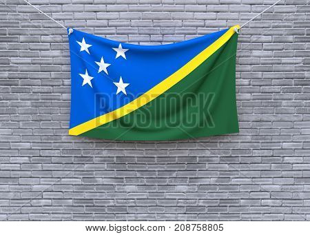 Solomon Islands flag on brick wall. 3D illustration