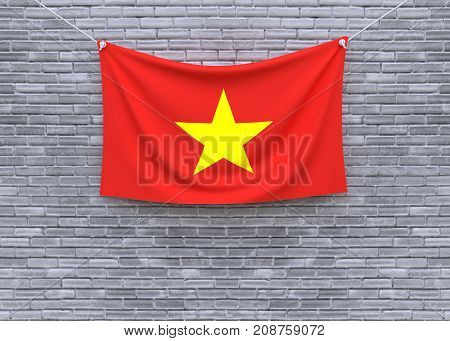Vietnam flag on brick wall. 3D illustration