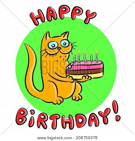 Cat congratulates Happy Birthday and presents a cake. Vector illustration