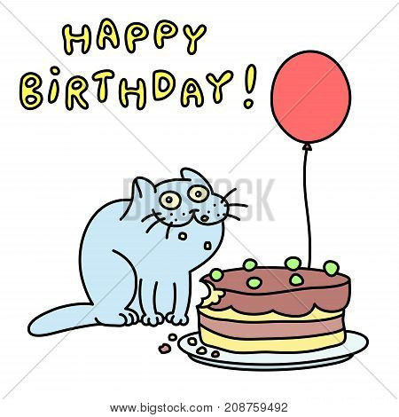 Funny blue cat with a cake and a balloon congratulates. Happy Birthday. Vector illustration