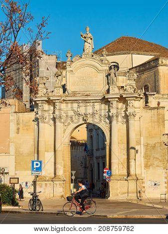 Porta Rudiae Gate Of Lecce. Puglia, Italy.