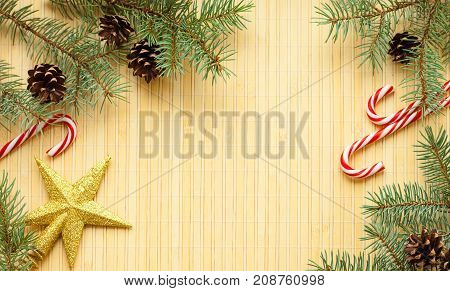 Greeting christmas card flat lay design on wood background