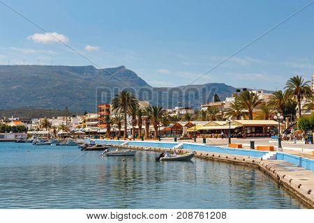Sitia, Crete, Greece - June 11, 2017: The Pictursque Port Of Sitia, Crete, Greece. Sitia Is A Tradit
