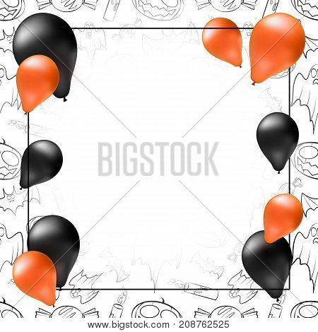 Happy Halloween greeting card poster or banner template. Vector square frame with black and orange balloons seamless creepy pattern and place for your text.
