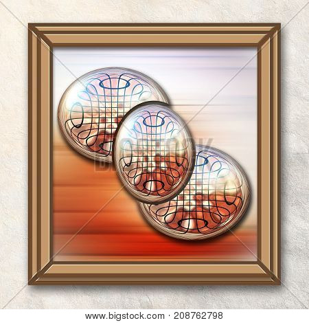 3D rendering combo artwork with brown hatched fractal and three glossy fractal buttons in elegant frame