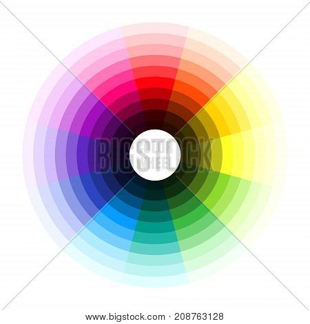 Color wheel. Vector illustration of color theory concept