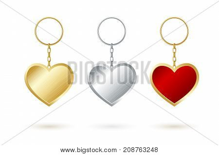 Heart shape keychain collection. Goldensilver and red keyholders.
