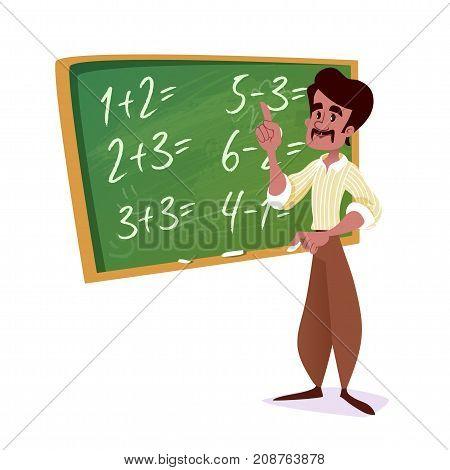 Indian School Teacher With A Green Chalkboard.