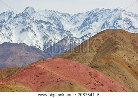 Himalayan mountains background, arid multi-colored mountains
