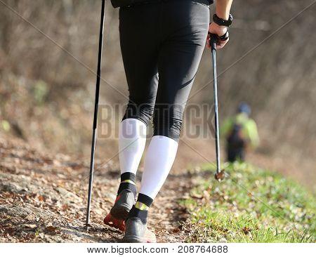 Athletic Man With Nordic Walking Sticks During Workout