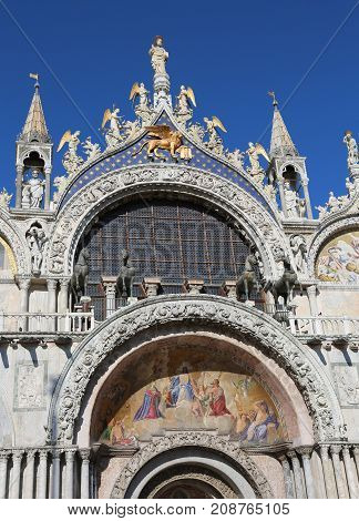 Facade Of St. Mark's Basilica In Venice With The Splendid Golden