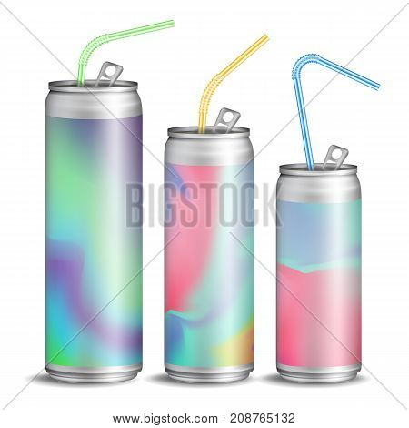 Realistic Metallic Cans Vector. Soft Drink. 3D Blank Aluminium Cans. Colorful Drinking Straws. Different Types. Good For Branding Design. 500, 300 ml. Isolated Illustration