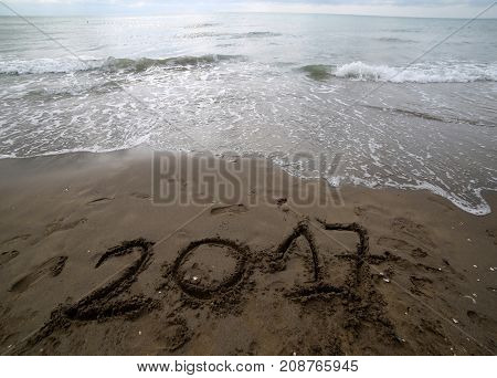 Year 2017 On The Sand Of The Sea