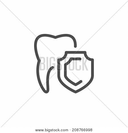 Teeth protection line icon isolated on white. Vector illustration