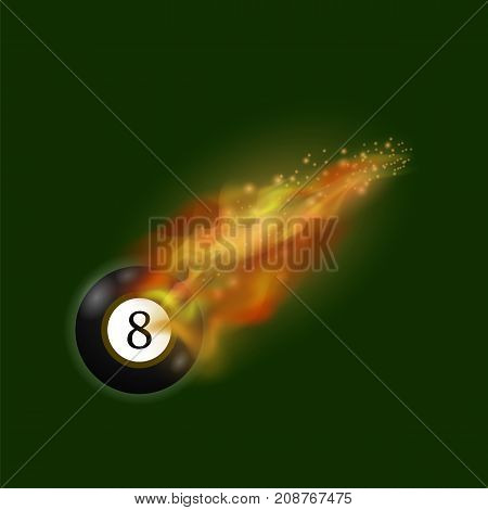 Black Billiard 8 Ball on Fire Flame Isolated on Green Background