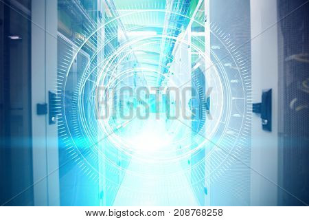 Several interface dial in dark blue background with light blue radiance  against image of data storage