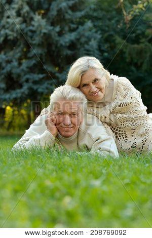 portrait of beautiful caucasian senior couple on grass  in the park