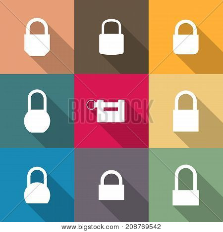 Icons locks of different shapes with long diagonal shadow. Flat style vector illustration.