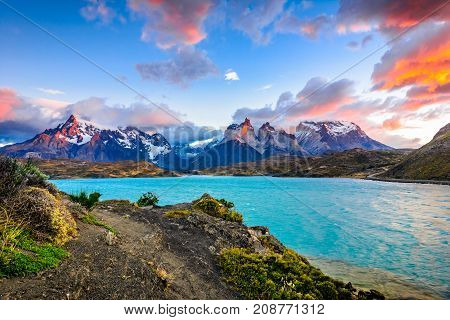 Torres Del Paine Over The Pehoe Lake, Patagonia, Chile - Souther