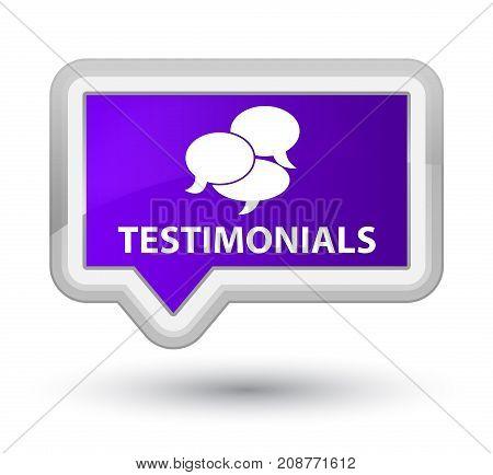 Testimonials (comments Icon) Prime Purple Banner Button
