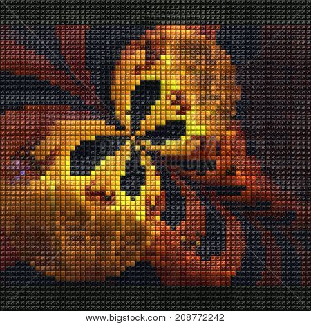3D render of puff pixels fractal colorful butterfly mosaic background