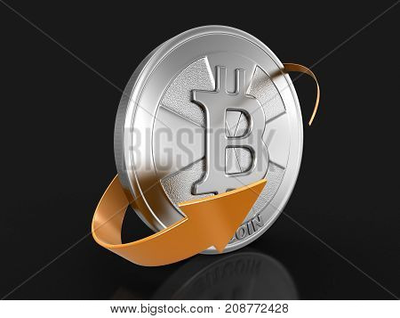 3d Illustration. Bitcoin and arrow. Image with clipping path