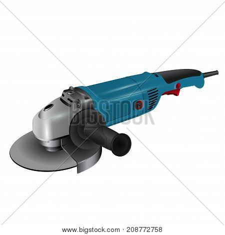 Angle grinder on white background. Simple illustration of angle grinder. Tools and accessories.  Vector illustration