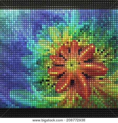 3D render of puff pixels fractal colorful flower mosaic background