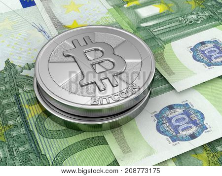 3d Illustration. image of Euros and Bitcoin
