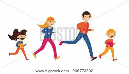 Happy family of mom dad and two kids running in sport clothes. Isolated on white flat vector illustration.