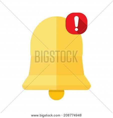 New Notification Icon hand bell sign isolated on white background flat style Vector illustration