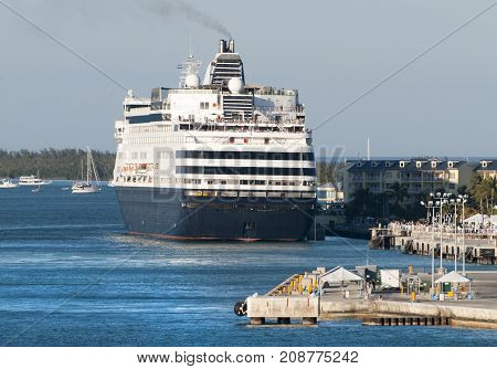 The cruise ship moored in Key West the southernmost town in the United States (Florida).