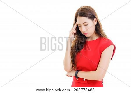 Beautiful young Asian woman in red casual dress thinking or being sad isolated on white background