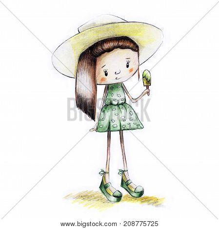 Sketch Painted Girl In Sundress With Ice Cream In Hand In Summer - Illustration