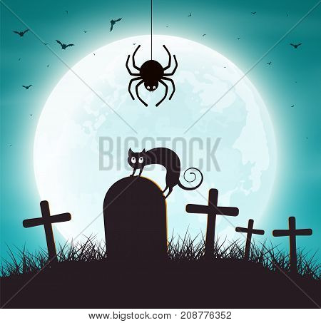Halloween Background. Spider web with bats and cat on grave.