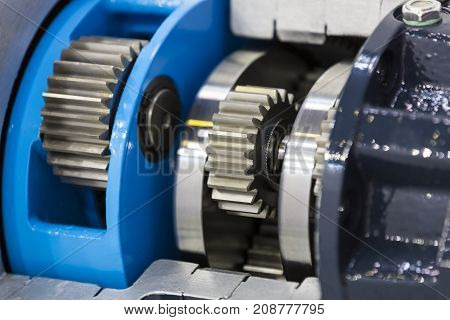 Big steel gear shot close- up photo